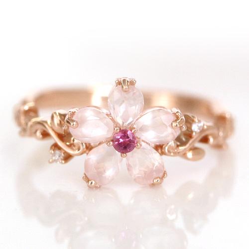 桜モチーフのリング