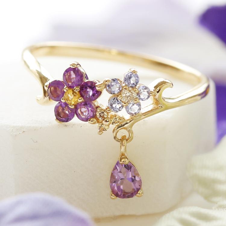 リング K10 ピンクゴールド イエローゴールド ホワイトゴールド レディース 指輪・ヴィオラン アメジスト イエローサファイア ダイヤモンド 10K 10金 花 アクセサリー 華奢 シンプル ファッションリング ブランド 宝石 おしゃれ