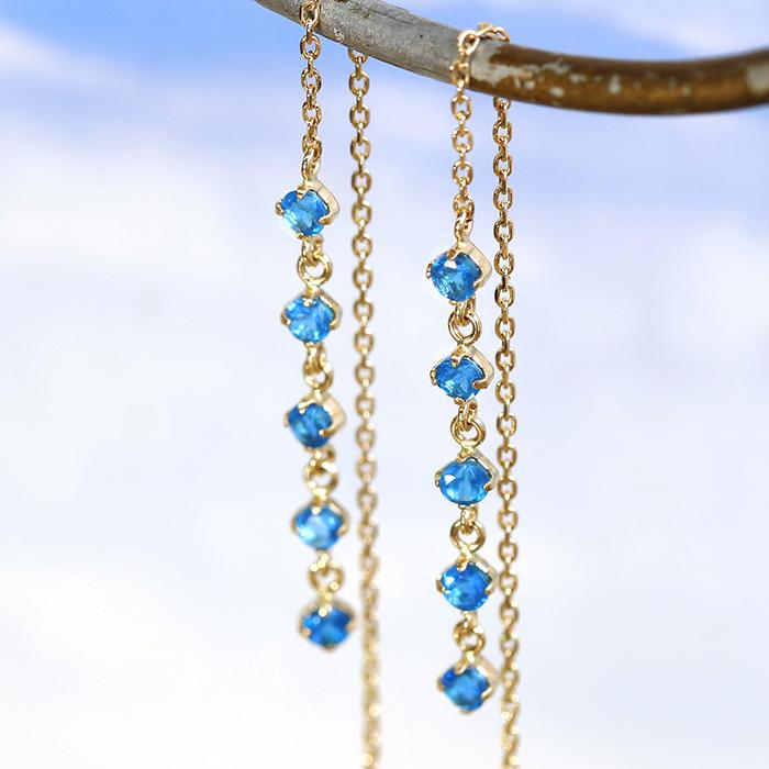 アメリカンピアス 10K レディース アパタイト ジュエリー・メディテ K10 10金 華奢 シンプル エタニティ おしゃれデザイン キラキラ 普段使い ブルー 青色 揺れる ぶらさがり デイリー 可愛いピアス 誕生日プレゼント 女性 ブランド 宝石