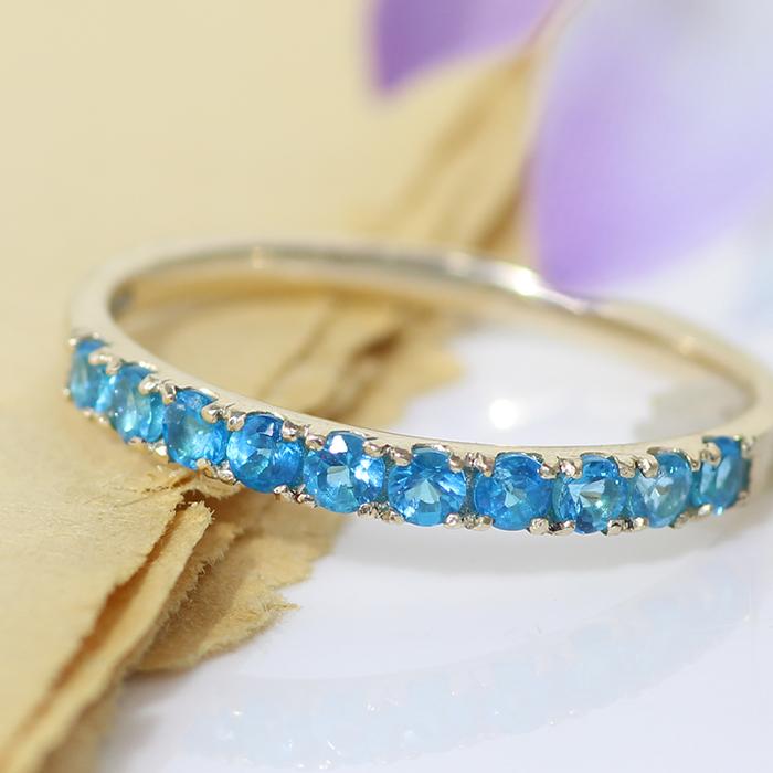 エタニティリング 指輪 10K レディース アパタイト ジュエリー・メディテネオ K10 10金 華奢 シンプル ラウンド おしゃれデザイン 夏 ネオンブルーカラーストーン 青色 誕生日プレゼント 女性 ギフト ファッションリング ブランド カラフル 宝石