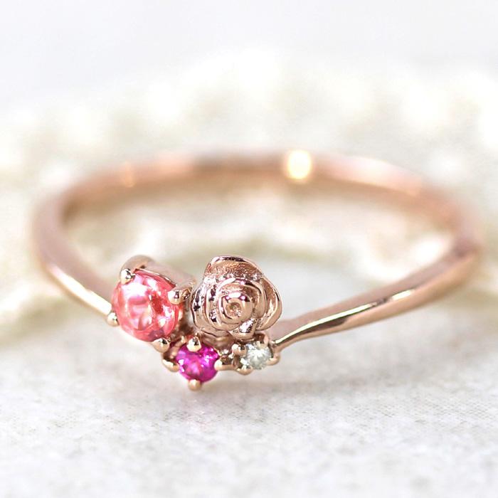 10金 レディース ロードクロサイト ジュエリー ルビー ダイヤモンド ピンクゴールド カラーゴールドリング・ローゼピンク K10 10K 華奢 バラ シンプル ピンク かわいい 清楚 おしゃれデザイン うるつや デザイン性高い 誕生日プレゼント 女性 ブランド 宝石