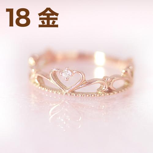 18金 ダイヤモンド ピンクゴールドリング 指輪・プリエール ピンキーリング対応 プリンセスのティアラ 王冠 クラウン 姫 ハート かわいい 小指の指輪 人気 レディース 18K K18 誕生日プレゼント 女性 ファランジリング ジュエリー ブランド 宝石 おしゃれ
