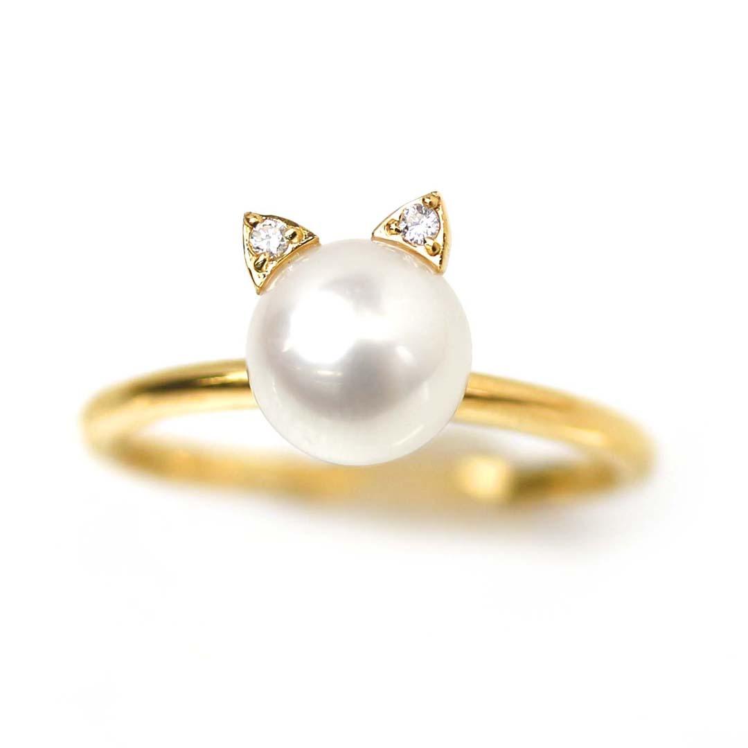 猫 ネコ あこや真珠 K18 ゴールドリング・ミウ アニマルジュエリー モチーフ あこやパール ダイヤモンド 指輪 18K 18金 猫耳 あこやパール 本真珠 ブランド 宝石 おしゃれ