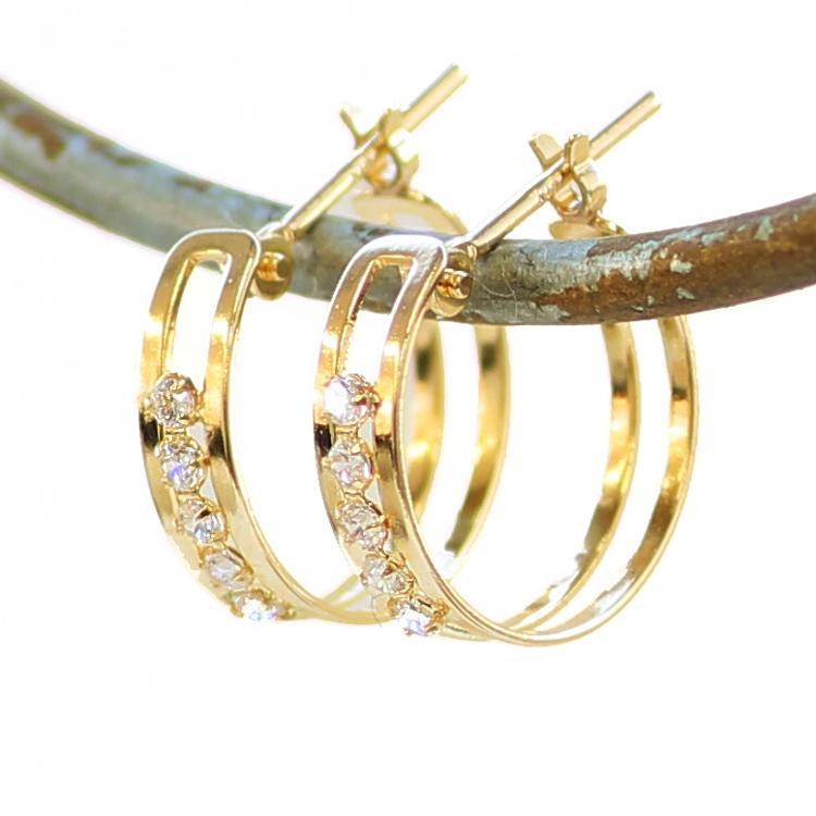 フープピアス 18K キュービックジルコニア ゴールド・レモナ レディース K18 18金 華奢 シンプル リングピアス リッチ キラキラ 大人 上品 誕生日プレゼント 女性 輪っか 可愛いピアス ループピアス