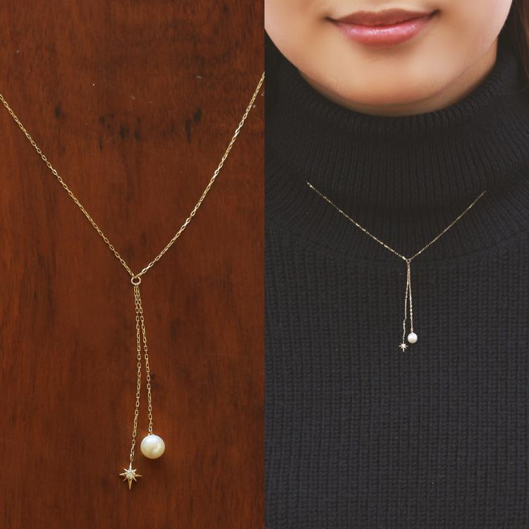 Y字 ネックレス 10金 ダイヤモンド 淡水パール ゴールドネックレス・ナティア 40cm 華奢 シンプル 淡水真珠 フォーマル 10金 10K 大人 女性 レディース プレゼント ブランド 宝石
