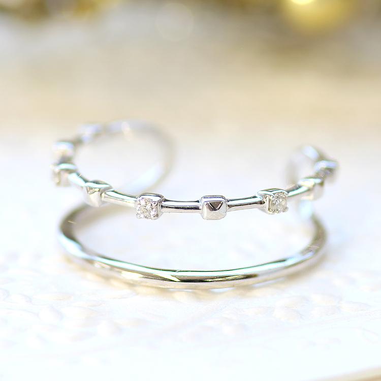 指輪 リング 10K レディース ダイヤモンド ゴールド ファッションリング・ジュピラー 10K 10金 サイズ調節可能 SMLサイズ展開 フリーサイズ 重ねづけ 重ね付け デザイン 二連 二重 華奢 シンプル 可愛いリング ジュエリー ブランド 宝石 おしゃれ