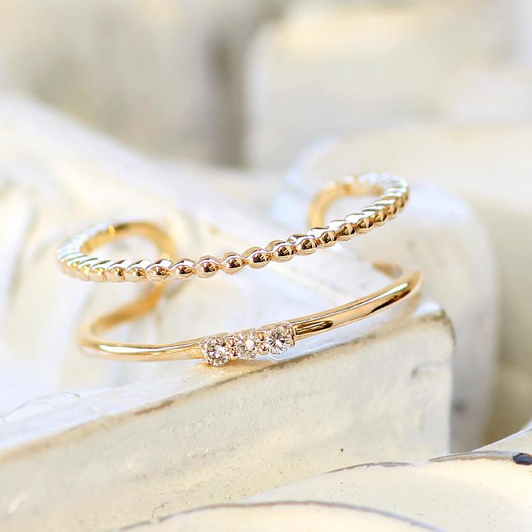 指輪 リング 10K レディース ダイヤモンド ゴールド ファッションリング・デュヴェル 10K 10金 サイズ調節可能 SMLサイズ展開 フリーサイズ 重ねづけ 重ね付け デザイン 二連 二重 華奢 シンプル 可愛いリング ジュエリー ブランド 宝石 おしゃれ