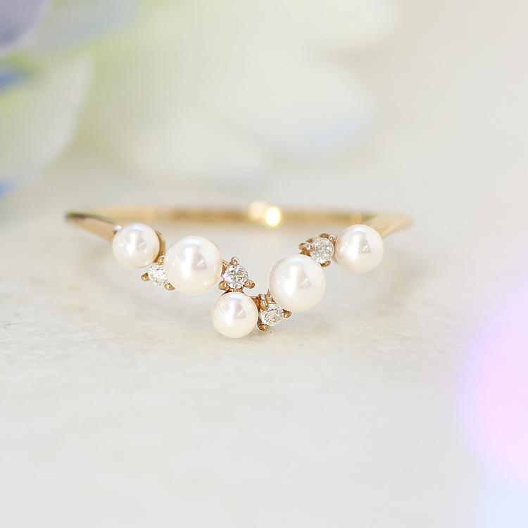 V字リング 10K あこや真珠 ダイヤモンド ゴールド・ヴィッテ アクセサリー あこやパール 本真珠 フォーマル レディース 指輪 ファッションリング K10 10金 華奢 シンプル ピンクゴールド ホワイトゴールド ブランド 宝石 おしゃれ