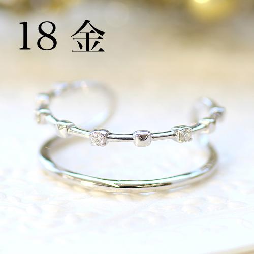 指輪 リング 18K レディース ダイヤモンド ゴールド ファッションリング・ジュピラー 18K 18金 サイズ調節可能 SMLサイズ展開 フリーサイズ 重ねづけ 重ね付け デザイン 二連 二重 華奢 シンプル 可愛いリング ジュエリー ブランド 宝石 おしゃれ