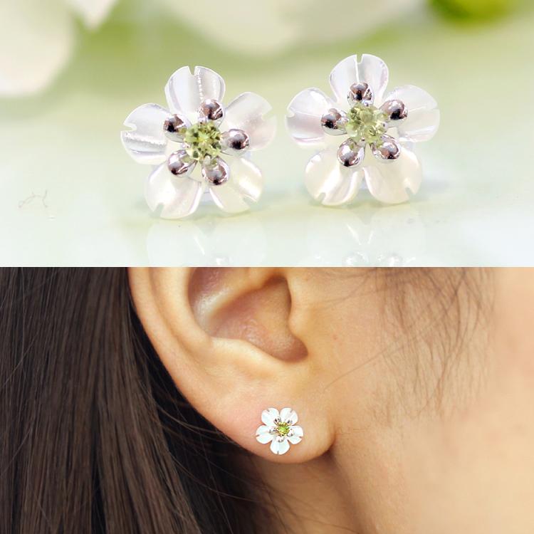Por Cherry Blossom Earring Gold 10 White S Peridot Earrings Calm 2 Way Use
