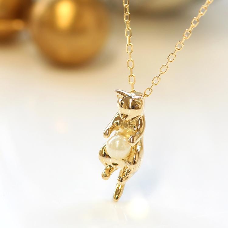 猫 ネックレス 10K ゴールド あこや真珠 レディース・ルナーヤ 動物 アニマルジュエリー K10 10金 かわいい シンプル 誕生日プレゼント ペンダント あこやパール 本真珠 ブランド