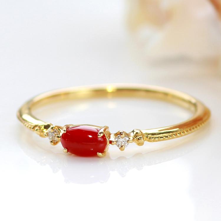 血赤珊瑚 指輪 10K ゴールド リング・コラルッテ 赤サンゴ レッドコーラル 高知産 土佐産 高品質 さんご 3月 誕生石リング 華奢 シンプル 還暦祝い 女性 おしゃれ ダイヤモンド 母の日 おすすめ プレゼント 10金 10K ブランド 宝石