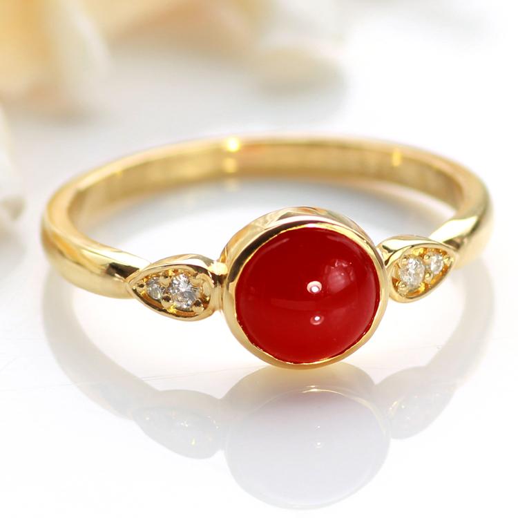 血赤珊瑚 指輪 10K ゴールド リング・コラルータ 赤サンゴ レッドコーラル 高知産 土佐産 高品質 さんご 3月 誕生石リング 大粒6mm 還暦祝い 女性 おしゃれ ダイヤモンド 母の日 おすすめ プレゼント 10金 10K ブランド 宝石