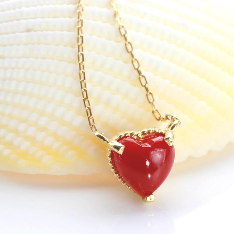 血赤珊瑚 ネックレス ハート 10K ゴールド・ラブアル 赤サンゴ レッドコーラル 高知産 土佐産 高品質 さんご 3月 誕生石 お守り 還暦祝い 女性 おしゃれ ペンダント 母の日 おすすめ プレゼント 10金 10K ブランド 宝石