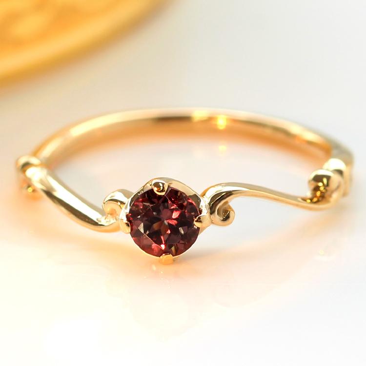 【数量限定】カラーチェンジガーネット 10K ゴールドリング・ディペア 指輪 一粒リング 華奢 シンプル チェンジカラー 1月誕生石リング 変色 ギフト 誕生日プレゼント 彼女 ブランド おしゃれ