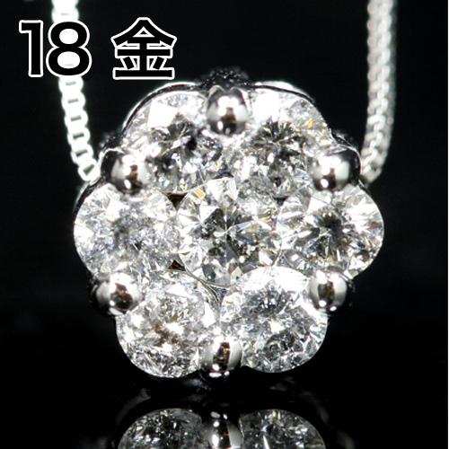 0.5カラットダイヤモンド 18K K18 18金 ホワイトゴールド イエローゴールドネックレス・ディマンジュ 0.5ctダイアモンド ペンダント レディース 大粒 お花 フラワーモチーフ パヴェ 華やか パーティー 存在感 誕生日プレゼント 女性 ジュエリー 人気 おすすめ ブランド 宝石