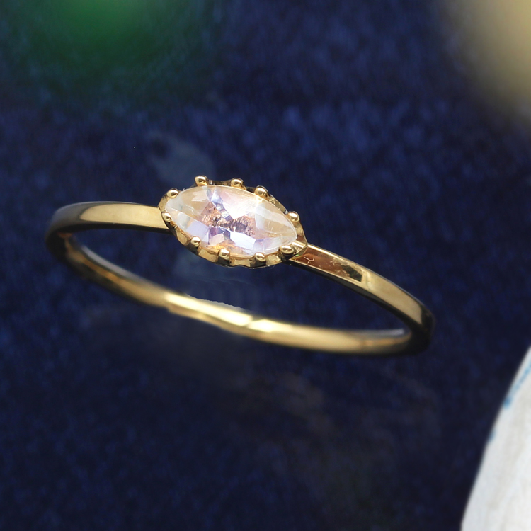 ブルームーンストーン 6月誕生石リング 10K ゴールド リング 指輪・ルナシア レディース K10 10金 マーキスカット バフトップ 華奢 シンプル おしゃれ 人気 ギフト ペンダント 誕生日プレゼント 女性 ジュエリー ブランド 宝石