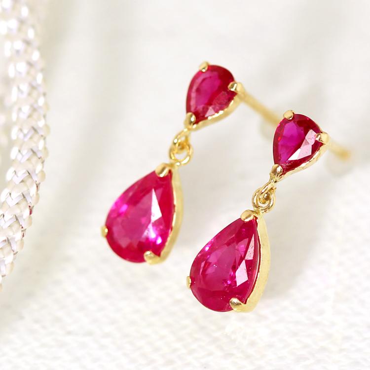 高品質ルビー ピアス 10K レディース・ルベティア ピンクゴールド ホワイトゴールド しずく ペアシェイプ 揺れるピアス 華奢 シンプル おしゃれ かわいい 誕生日プレゼント 彼女 おすすめ 10K 10金 7月誕生石 宝石