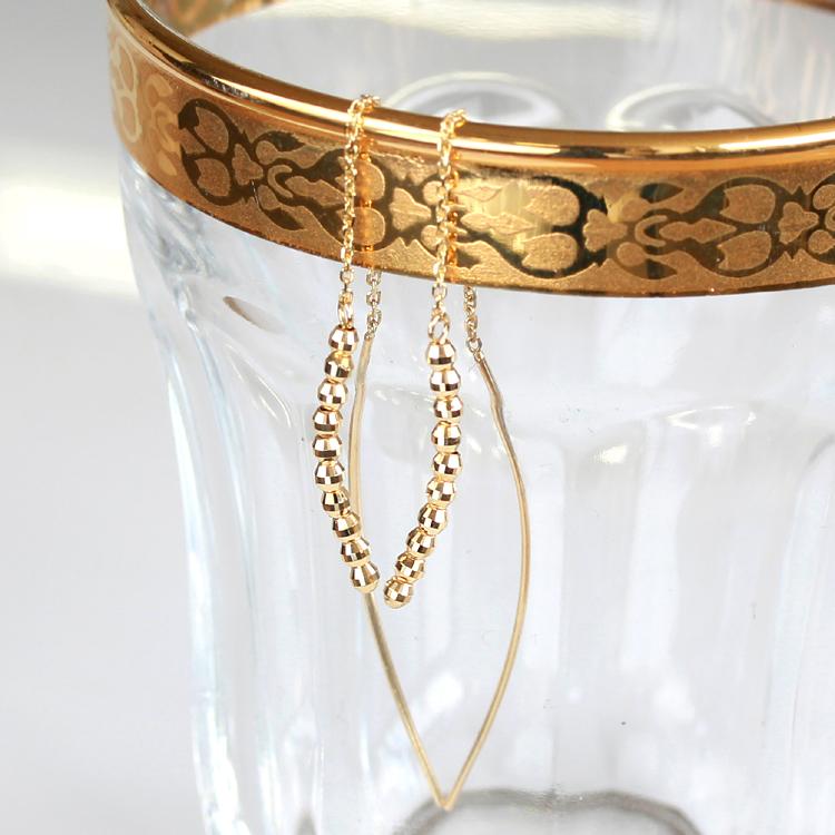 K18 アメリカンピアス・ミラウィール イエローゴールド ホワイトゴールド 揺れるピアス ロングピアス レディース 18K 18金 ミラーボール キラキラ 華奢シンプル 大人かわいい ブランド 宝石