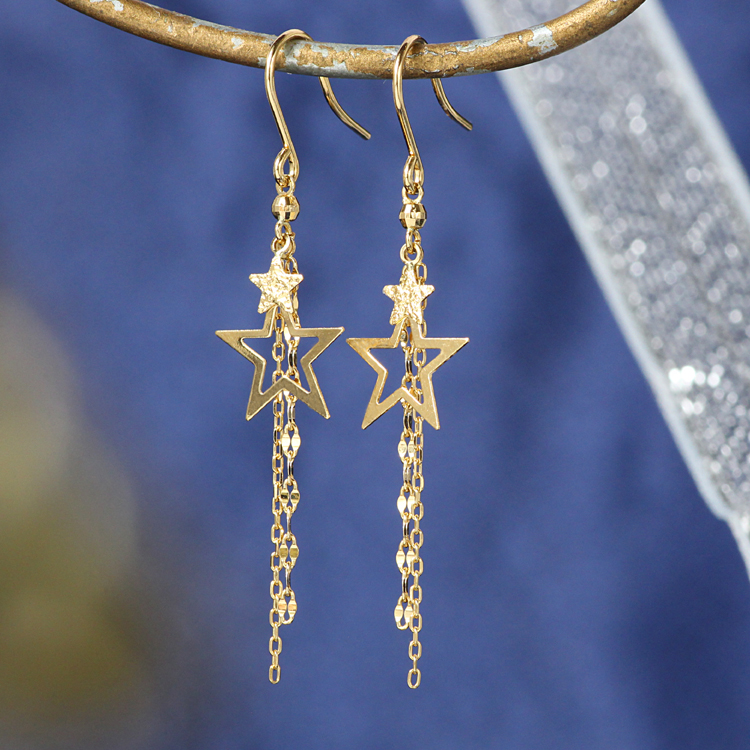 星モチーフ フックピアス レディース K18 ゴールド・スターライン 18K 18金 揺れるピアス スターモチーフ チェーン しゃらしゃら おすすめ 可愛い ブランド 宝石