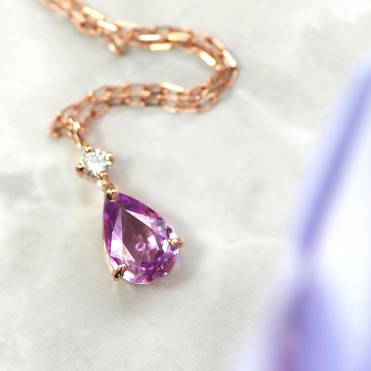 バイオレットサファイア ネックレス・ピルスティ 10K ゴールド パープルサファイア 9月誕生石 誕生日プレゼント 女性 華奢 フペンダント シンプル ダイヤモンド ペアシェイプブランド 宝石