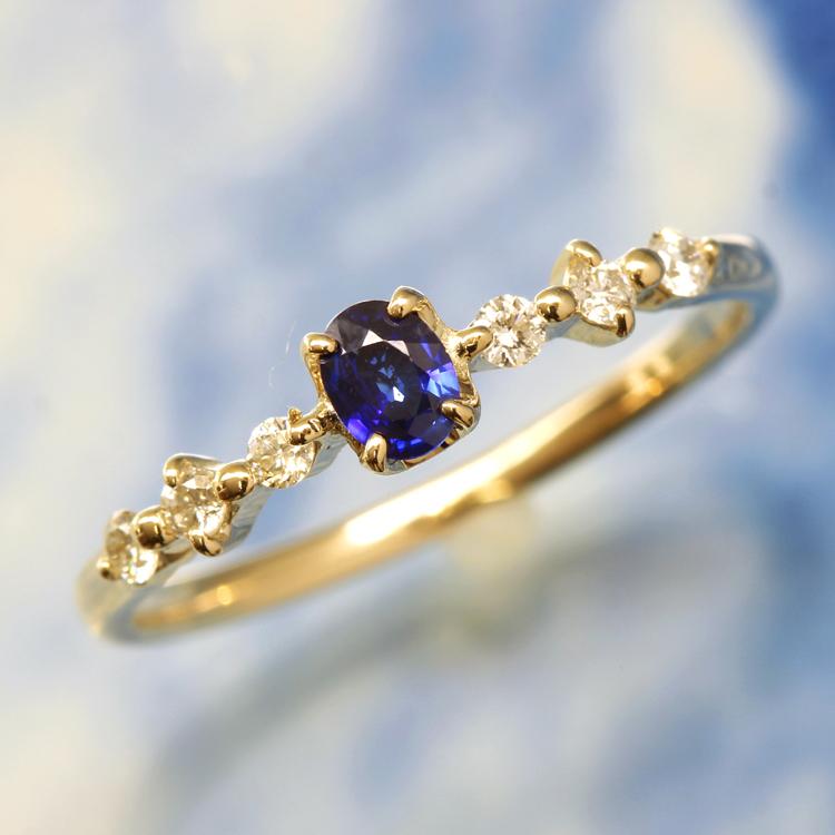 コーンフラワーブルーサファイア 高品質 リング 指輪・アルディ 10K ゴールド 9月誕生石リング 誕生日プレゼント 女性 華奢 ファッションリング ゴージャス デザインリング ダイヤモンド オーバルカット ブランド 宝石 おしゃれ