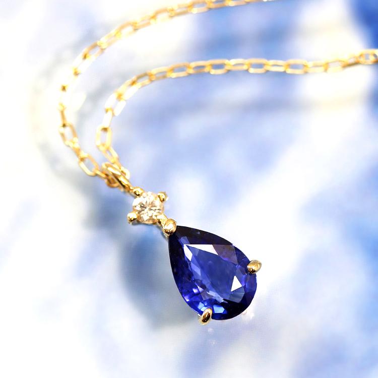 コーンフラワーブルーサファイア 高品質 ネックレス・ピルスティ 10K ゴールド 9月誕生石 誕生日プレゼント 女性 華奢 ペンダント シンプル ダイヤモンド ペアシェイプブランド 宝石