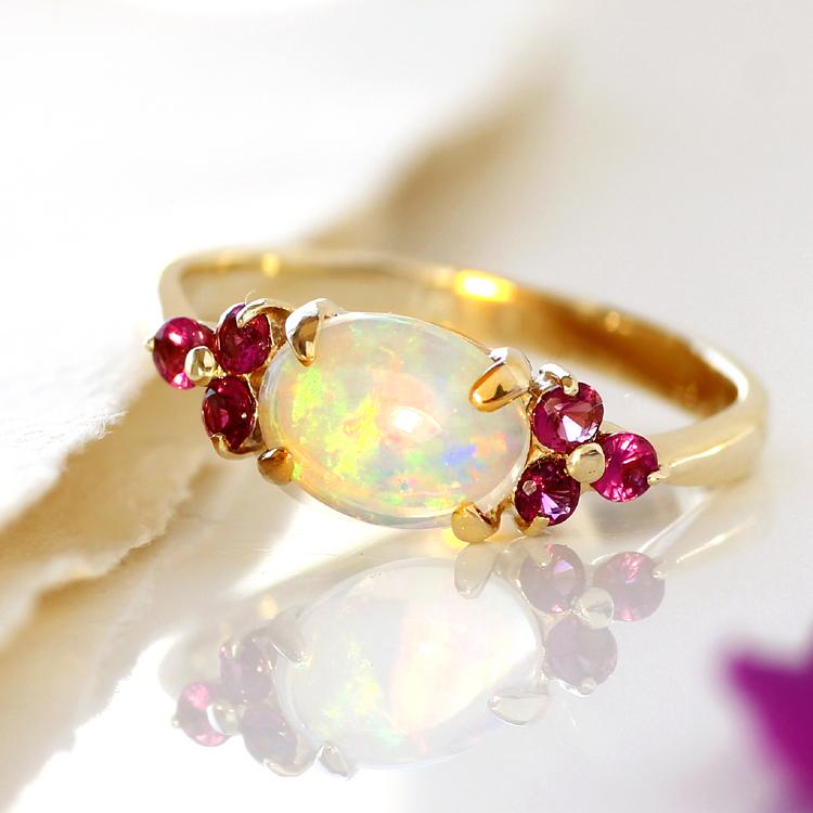 オパール リング 10K イエローゴールド レディース 指輪・アモーレスト デザインリング K10 10金 ファッションリング 10月の誕生石リング 虹色 ジュエリー 大粒リング ブランド 宝石 おしゃれ