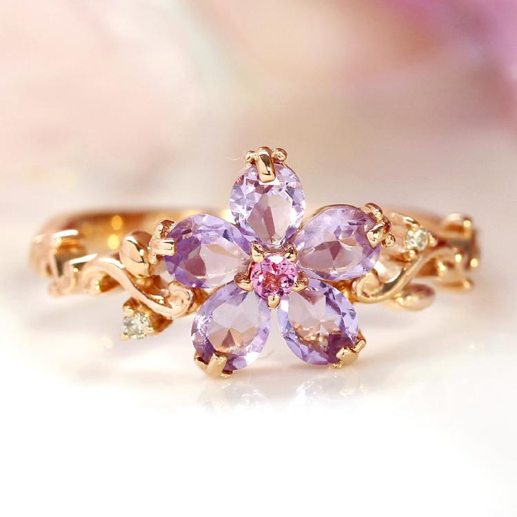 アメジスト ダイヤモンド 10K K10 10金 ピンクゴールド ホワイトゴールドリング レディース 指輪・リアージュ 桜 華奢 シンプル ファッションリング 可愛い ゆびわ ジュエリー デザイン 花モチーフ すみれ ブランド 宝石 おしゃれ