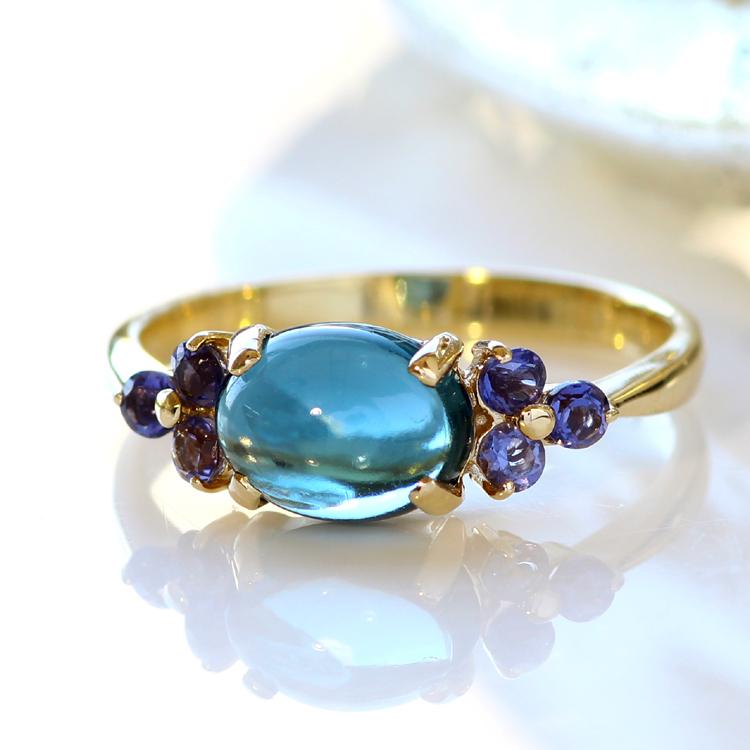 ロンドンブルートパーズ リング 10K イエローゴールド レディース 指輪・アモーレスト デザインリング K10 10金 ファッションリング 11月の誕生石リング ジュエリー 大粒リング ブランド 宝石 おしゃれ