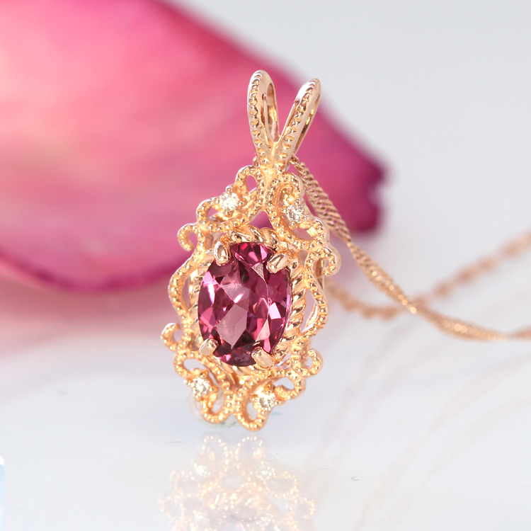 マラヤガーネット ネックレス・ラルブレン 10K ダイヤモンド アクセサリー レディース 指輪 1月誕生石ネックレス 誕生日プレゼント 女性 クラシカルデザイン ペンダント K10 10金 ブランド 宝石 おしゃれ