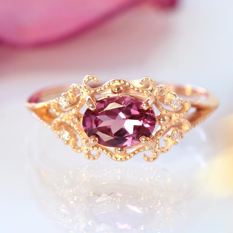 マラヤガーネット リング・ルブレン 10K ダイヤモンド アクセサリー レディース 指輪 1月誕生石リング 誕生日プレゼント 女性 クラシカルデザイン カラーガーネット K10 10金 ブランド 宝石 おしゃれ