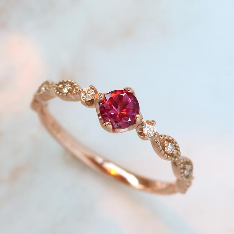 マラヤガーネット リング・プリウム 10K ダイヤモンド アクセサリー レディース 指輪 1月誕生石リング 誕生日プレゼント 女性 カラーガーネット K10 10金 ブランド 宝石 おしゃれ