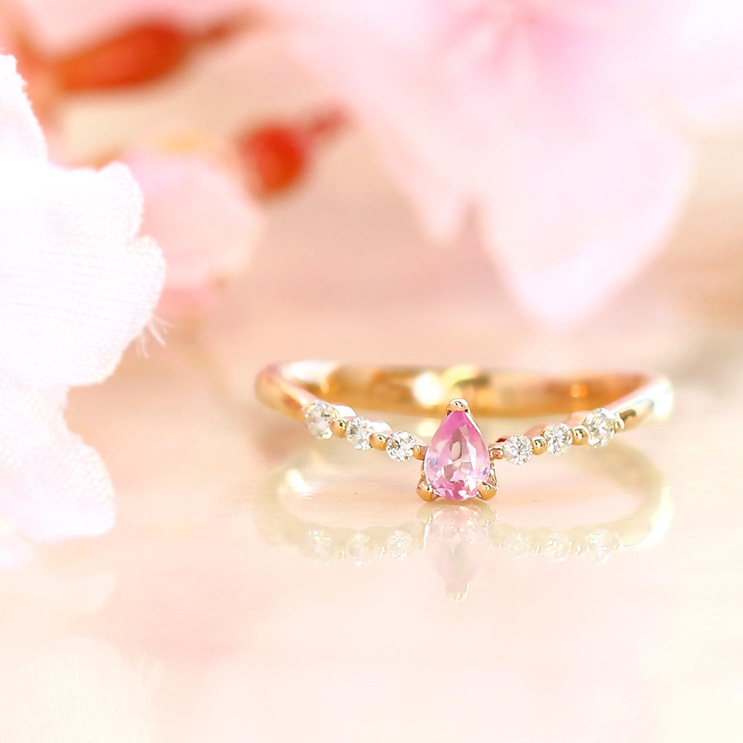 【数量限定】桜色非加熱サファイア ダイヤモンド リング 指輪・ハナ 10K ゴールド イエローゴールド ピンクゴールド パステルカラー ピンクサファイア 9月誕生石 誕生日プレゼント 女性 華奢 ファッションリング シンプル さくら かわいい