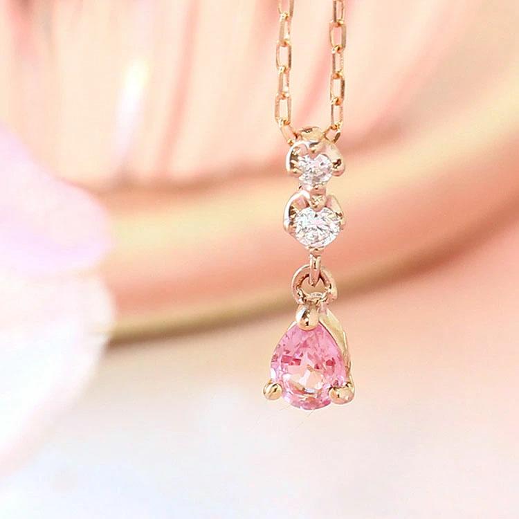 【数量限定】桜色非加熱サファイア ダイヤモンド ネックレス・ハナ 10K ゴールド イエローゴールド ピンクゴールド パステルカラー ピンクサファイア 9月誕生石 誕生日プレゼント 女性 華奢 ファッションリング シンプル さくら かわいい
