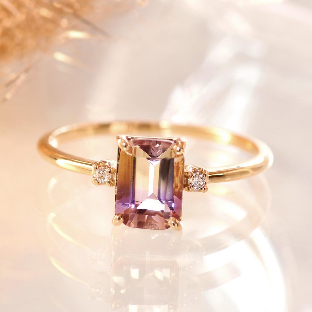 ボリビア産アメトリン リング 指輪 10K ゴールド レディース・ディジュリア ダイヤモンド バイカラー アメジスト シトリン 華奢 シンプル ファッションリング 可愛い ゆびわ K10 10金 大粒 稀少石 希少石 2色 ブランド 宝石 おしゃれ