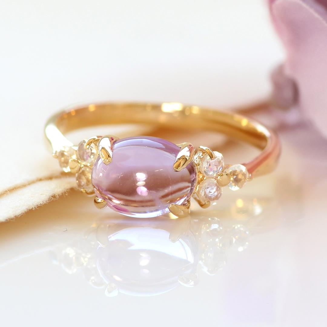 アメジスト リング 10K イエローゴールド レディース 指輪・アモーレスト デザインリング K10 10金 ファッションリング 2月の誕生石リング ジュエリー 大粒リング ブランド 宝石 おしゃれ