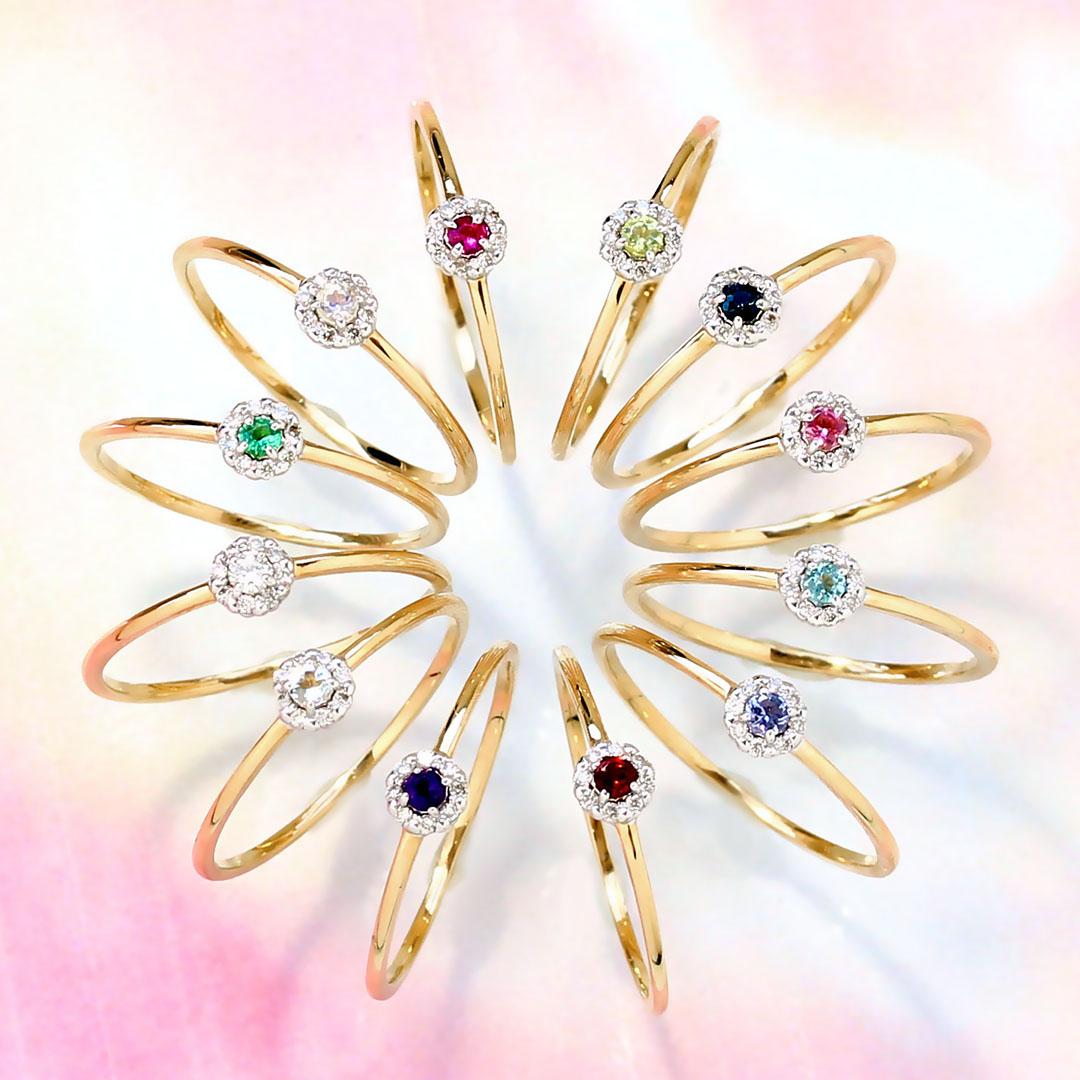 12種類の誕生石が選べる ダイヤモンド/バースストーン カラーゴールド レディース リング・エスペランサ 指輪 誕生日プレゼント 女性 華奢 シンプル 花 フラワーモチーフ 10K K10 10金 ブランド 宝石