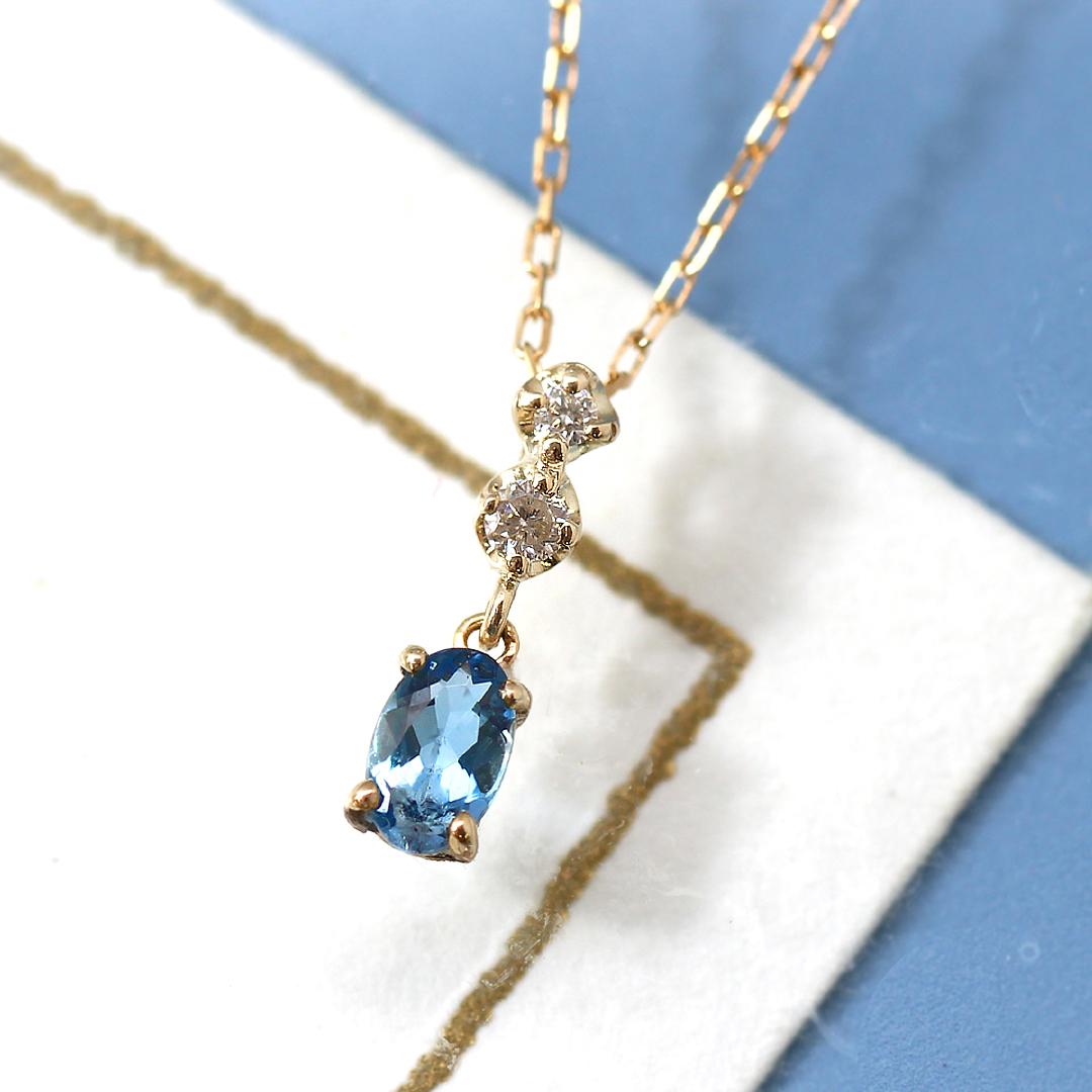 【数量限定】ブラジル産サンタマリアアクアマリン×ダイヤモンド×K18カラーゴールドネックレス・ラシェディール 3月誕生石ネックレス サンタマリアアクアマリン K18 18金 プレゼント 華奢 シンプル ブランド 宝石