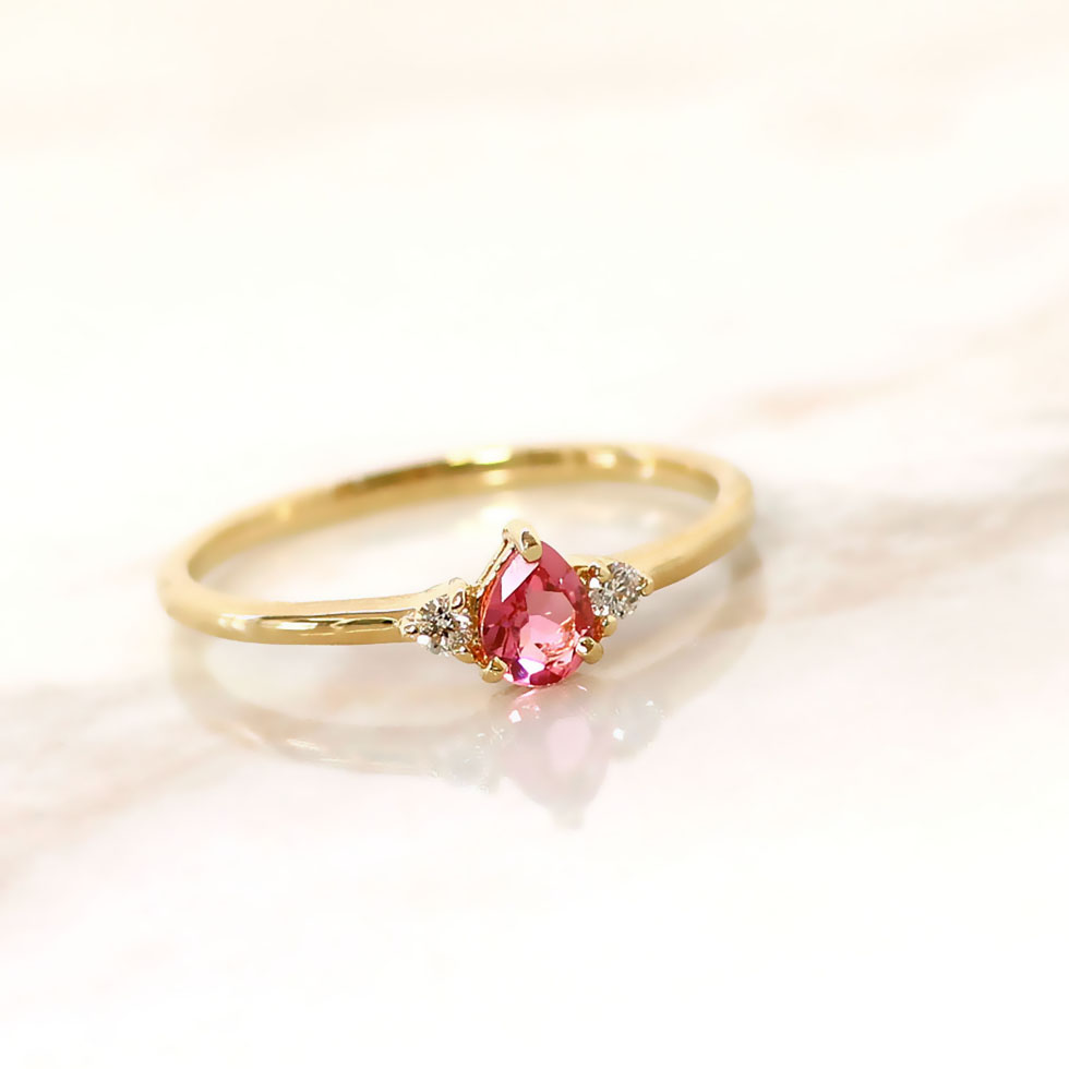 【GEM EDEN】ピンキーリング ピンクトルマリン ダイヤモンド 指輪・ヴェノン レディース ジュエリー ゴールド 10K K10 10金 ピンクゴールド ホワイトゴールド イエローゴールド 誕生日プレゼント 女性 かわいいリング 華奢 大人 上品  ブランド 宝石 おしゃれ