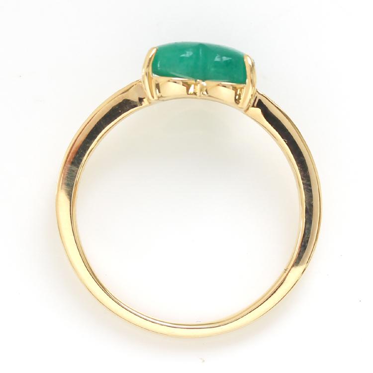 【数量限定】コロンビア産エメラルドリング 18K イエローゴールド レディース 指輪・エメルハート K18 18金 一粒リング 華奢リング 重ねづけ ハートシェイプ ファッションリング ジュエリー ブランド 宝石 おしゃれ