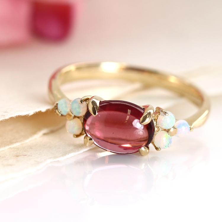 ガーネット リング 10K イエローゴールド レディース 指輪・アモーレスト デザインリング K10 10金 ファッションリング 2月の誕生石リング ジュエリー 大粒リング ブランド 宝石 おしゃれ
