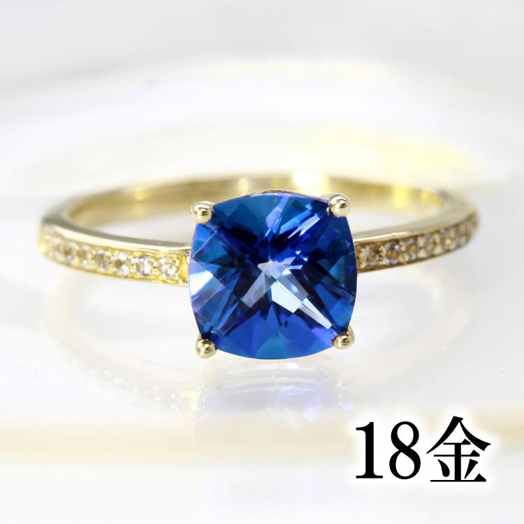 ロイヤルブルートパーズ リング 指輪 ゴールド ピシュオン K18 レディース 11月の誕生石 高品質 ファッションリング クッションカット ジュエリー 大粒 大ぶり スワロフスキージェムストーン ブランド 宝石