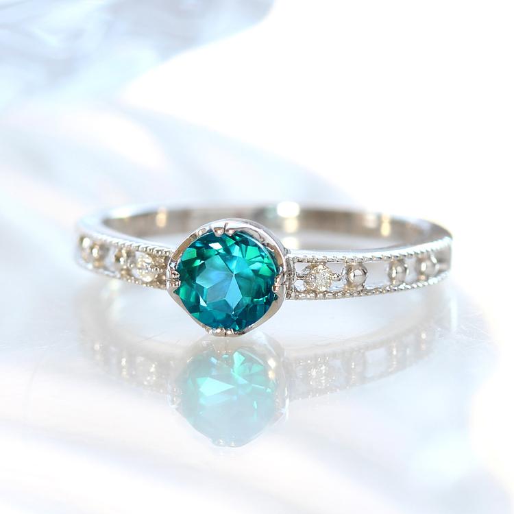 カリビアンパライバトパーズ リング 10K ダイヤモンド ホワイトゴールド レディース 指輪・ディレパシオーネ ブルートパーズ K10 10金11月の誕生石リング 青い宝石 ジュエリー ブランド おしゃれ