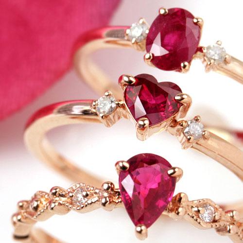0.3ctアップ ルビー リング 指輪 10K ダイヤモンド レディース・ラシエンテ ピンクゴールド ホワイトゴールド イエローゴールド 10金 K10 ハートシェイプカット オーバル ペアシェイプ デザインリング ファッションリング 可愛い ジュエリー 7月誕生石リング ブランド 宝石