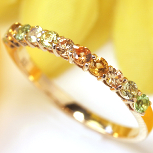 リング レディース 指輪 10K K10 10金 イエローサファイア カラーストーン ゴールド・ひまわり サファイヤ 華奢 シンプル ファッションリング 可愛い ゆびわ ジュエリー エタニティリング エタニティーリング 黄色 グラデーション ブランド カラフル 宝石 おしゃれ