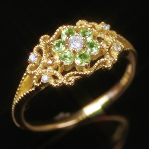 ペリドット 8月誕生石リング ダイヤモンド K10 ピンクゴールド ホワイトゴールド イエローゴールド リング レディース 指輪・リレン クラシカル アンティークジュエリー風 華奢 シンプル ファッションリング 可愛い ゆびわ ブ