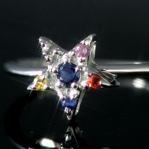 カラーサファイア K18ゴールド リング レディース 指輪・メテオール 18K 18金 人気のスター 星カラーストーン モチーフ 華奢 シンプル ファッションリング 可愛い ゆびわ ジュエリー ブランド カラフル 宝石 おしゃれ