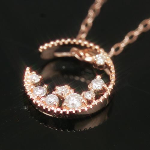 【あす楽対応】数量限定0.1ctダイヤモンド カラーゴールドネックレス・ラムーンテニア大人気の三日月カラーストーン モチーフ! 誕生日プレゼント 女性 ブランド 宝石