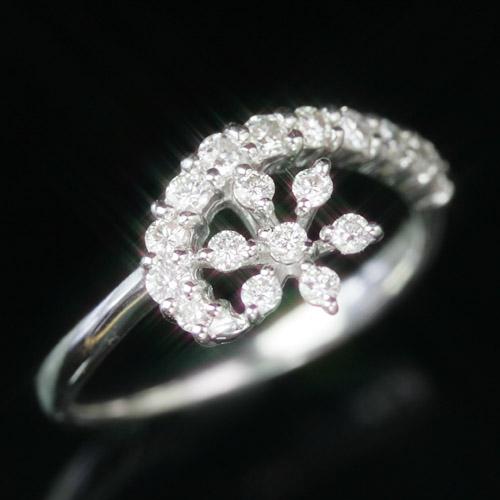 0.27カラットダイヤモンド 10K ゴールドリング レディース 指輪・メルヤリーサ K10 10金 人気のエタニティリング 雪の結晶モチーフ ピンキーリング対応 ファランジリング 華奢 シンプル デザイン 冬 ピンクゴールド ホワイトゴールド ブランド 宝石 おしゃれ